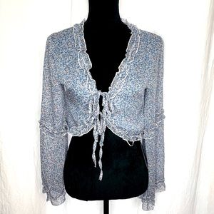 NEW Long Sleeve Blue Floral Tie Front Blouse